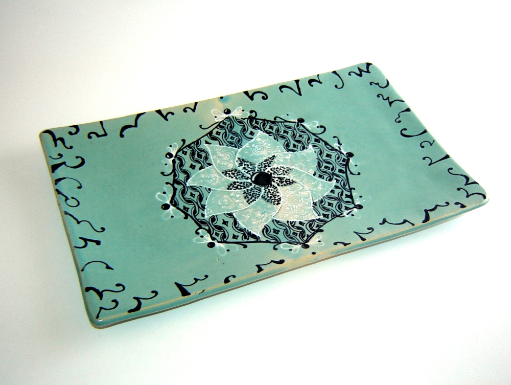 Serving Platter in Turquoise Blue Pottery with Zendala Abstract Design