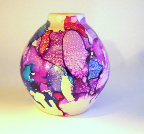 Purple Ceramic Vase with Blue and Red Accents