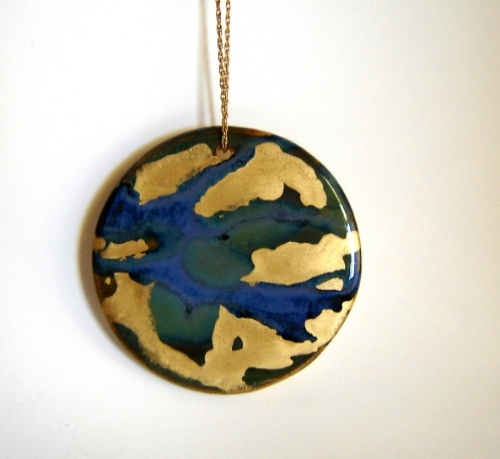Blue Gold and Green Circle Ornament