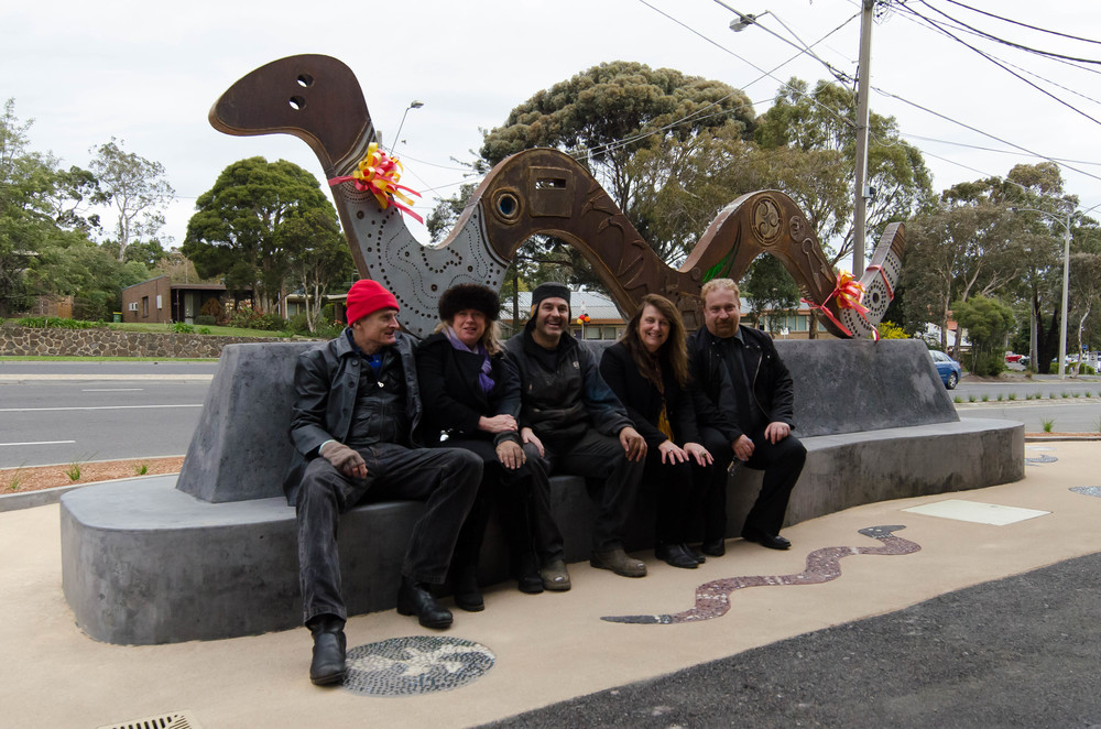 Local community members celebrating the completion of the Lower Plenty Centre's unique serpent sculpture.