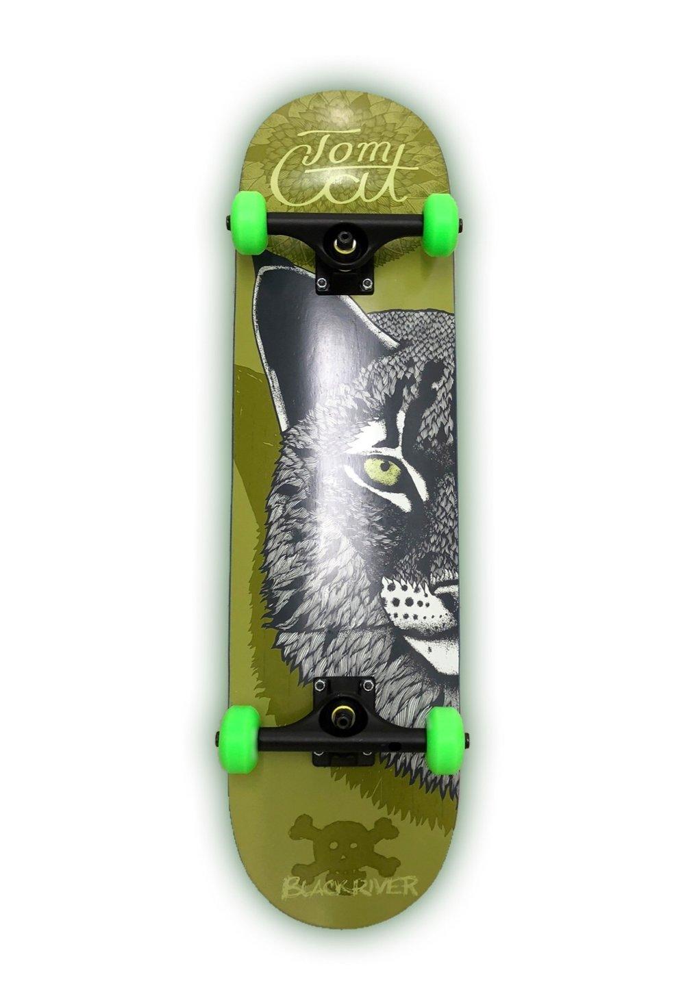 Tom Cat Skateboard schwarze Achsen, grüne Rollen Skateboard kaufen München.JPG