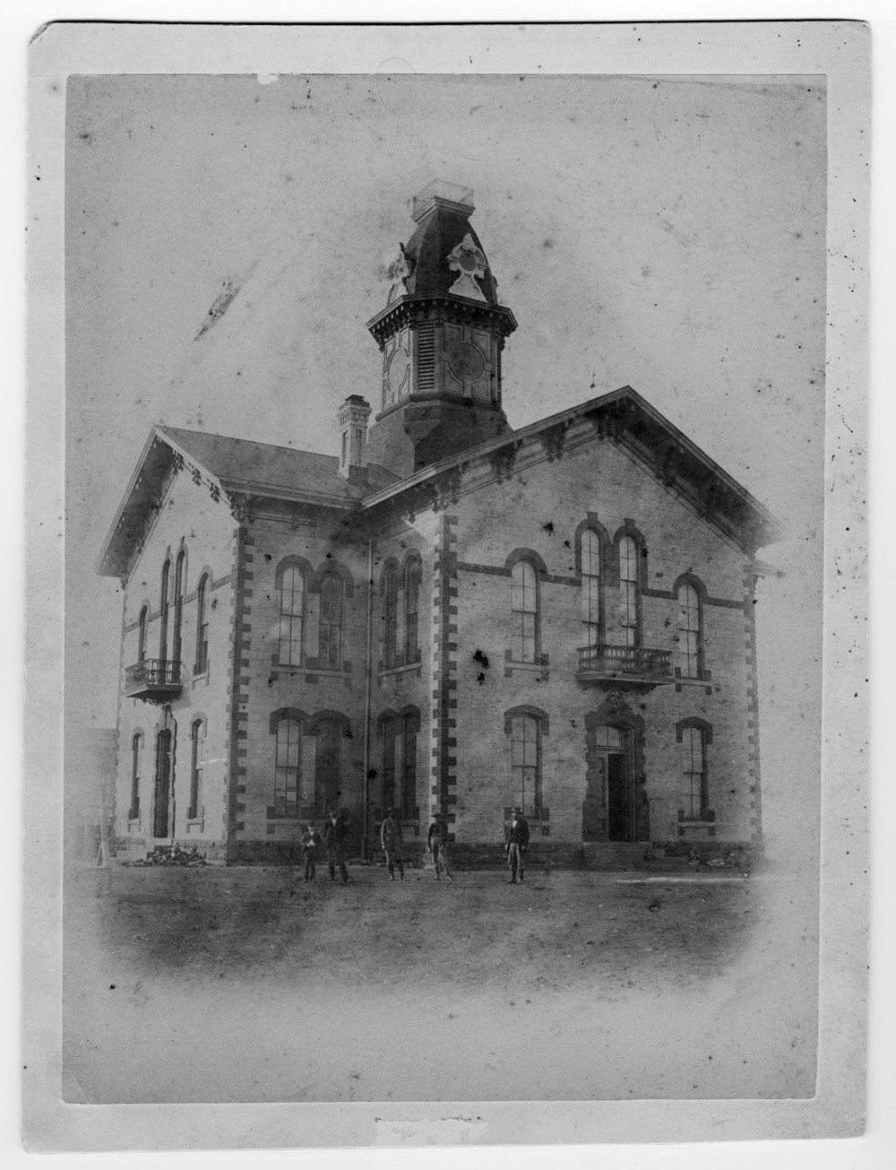 Denton's second courthouse, struck by lightning in 1894
