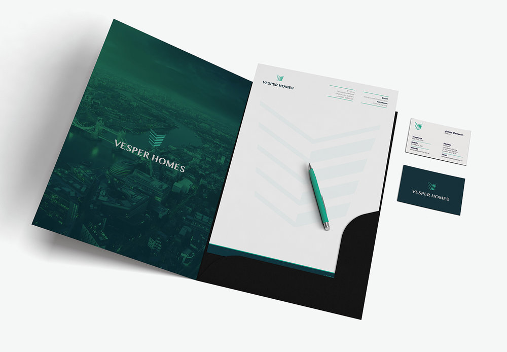 Vesper Homes Letterheads and Business Cards