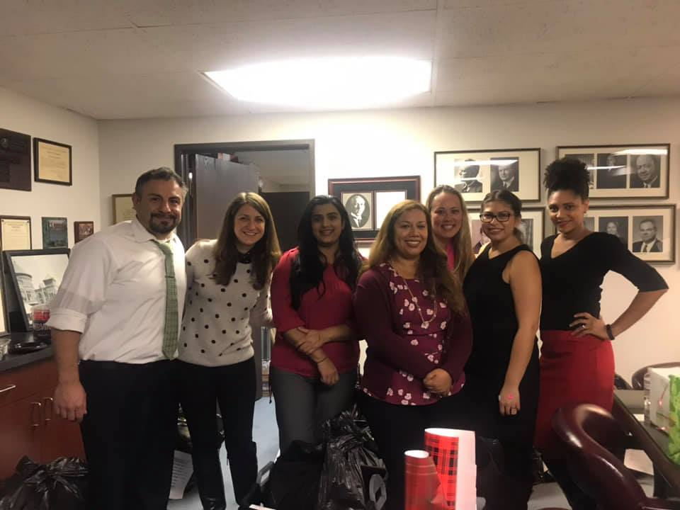 Inn members Megan Demshki, Goushia Farook, and Erica Alfaro (second, third and fourth from left) with their friends.