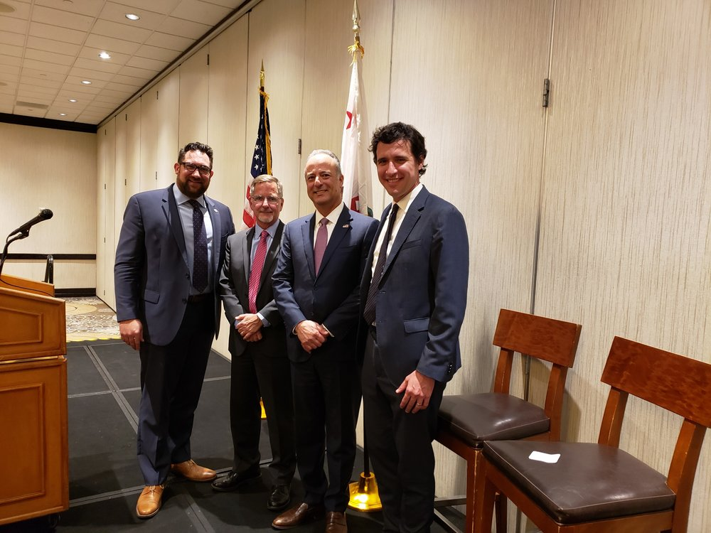 (L-R) David Collela (President of the Honorable Joseph B. Campbell American Inn of Court), Jack Osborn (Past President of the Honorable Joseph B. Campbell American Inn of Court), Nick Hanna (U.S. Attorney for the Central District of California), and Joseph Widman (Assistant U.S. Attorney for the Central District of California and President-Elect of the Honorable Joseph B. Campbell American Inn of Court)