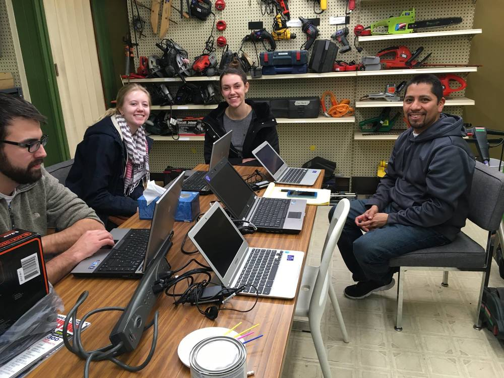 YEP Members Taylor Lindsey (Left) and Kaylee Birlingmiar (Middle) meet at the Tool Library with Robert Bosquez (Right)