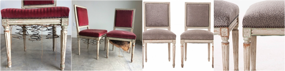 Before and After of antique chairs for Fireside Antiques- interior restoration and custom upholstery.