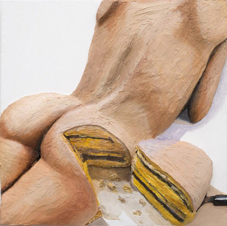 gina beavers   Cake, 2015  [acrylic and canvas on panel; 16 x12 x 3 in.]