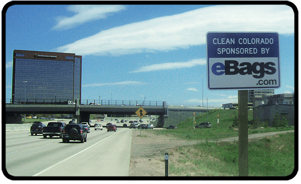 eBags Adopt A Highway sign