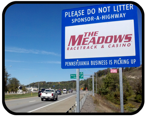 The Meadows Racetrack & Casino Adopt A Highway sign