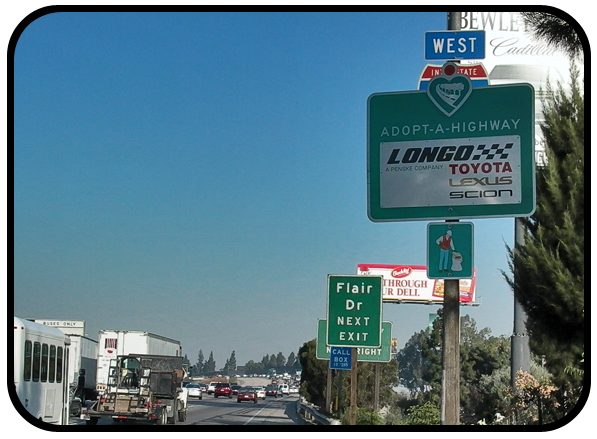 Longo Toyota Adopt A Highway sign