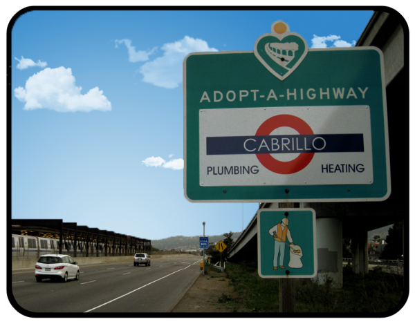 CAbrillo Plumbing Adopt A Highway sign