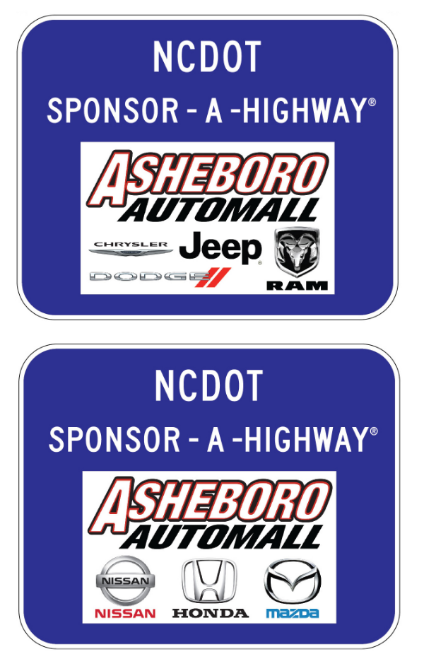 Asheboro Auto Mall Sponsor A Highway sign