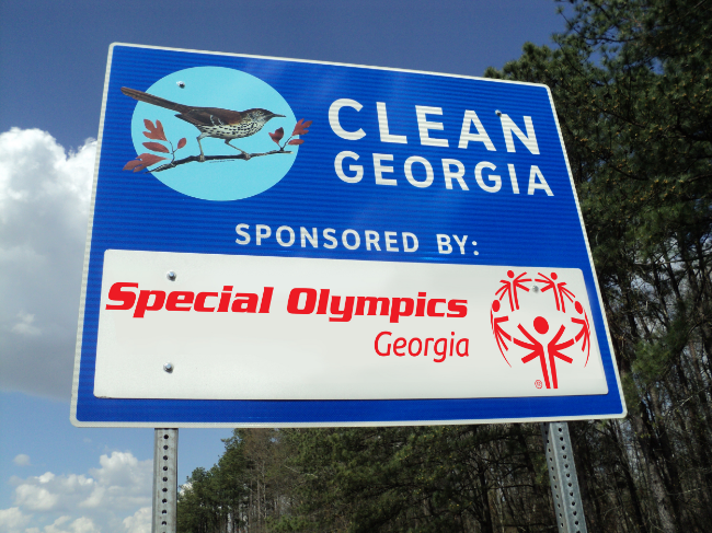 Special Olympics Georgia Clean Georgia sign