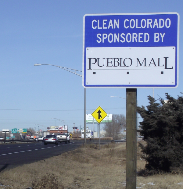 Pueblo Mall Sponsor A Highway sign