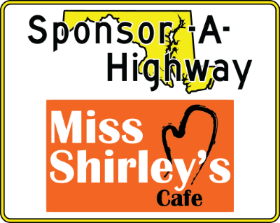 Miss Shirley's Sponsor A Highway sign