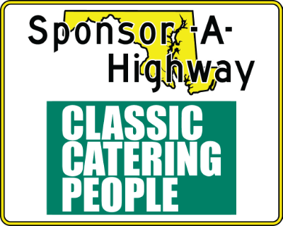 Classic Catering People Sponsor A Highway sign
