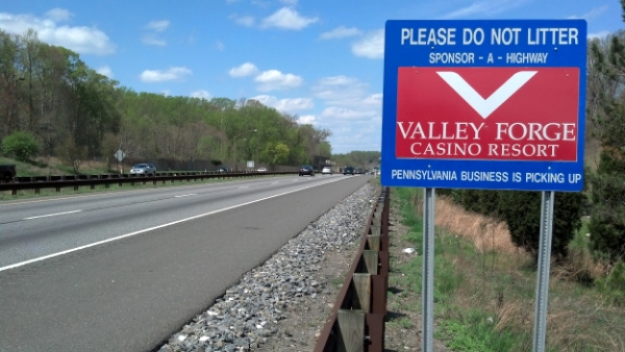 Valley Forge Casino Sponsor A Highway sign