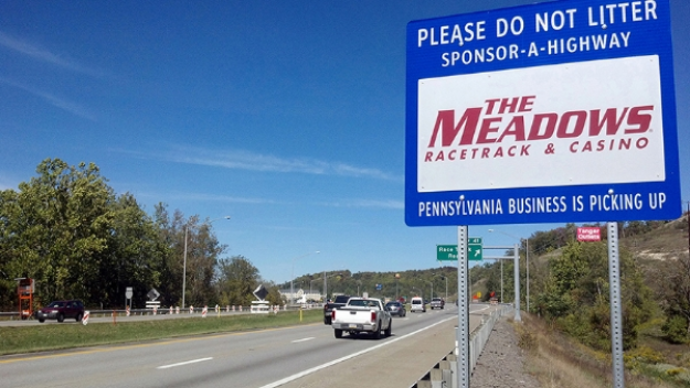 The Meadows Racetract Sponsor a Highway sign