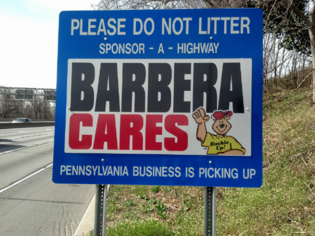 Barbera Cares Sponsor A Highway sign