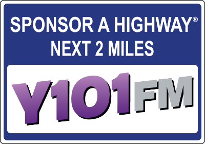 Y101FM Sponsor A Highway sign
