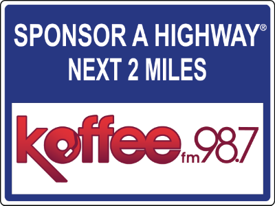 Koffee fm 98.7 Sponsor A Highway sign