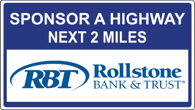 Tollstone Bank Sponsor A Highway sign