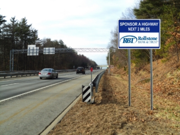 Rollstone Bank Sponsor A Highway sign