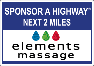 Elements Massage Sponsor A Highway sign