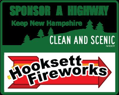 Hooksett Fireworks Sponsor A Highway sign