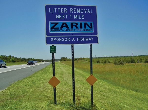 Zarin Fabrics Sponsor A Highway sign