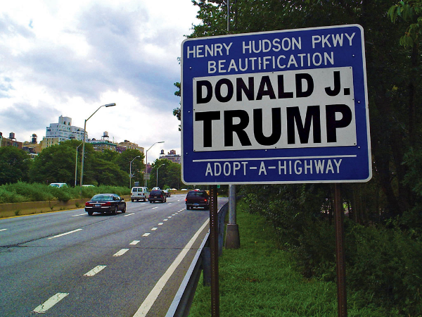 Donald Trump Sponsor A Highway sign