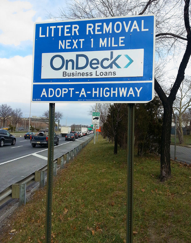 OnDeck Adopt A Highway sign