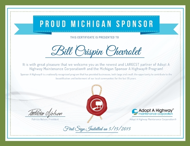 Proud Michigan Sponsor Certificate