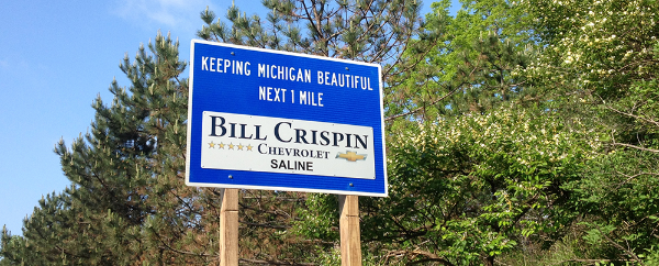 Bill Crispin Adopt A Highway sign
