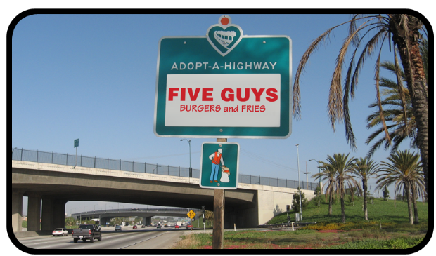Five Guys Adopt A Highway sign