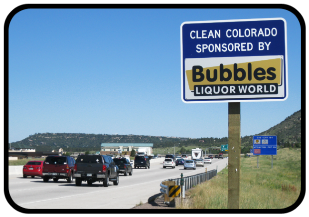 Bubbles Liquor World Adopt A Highway sign