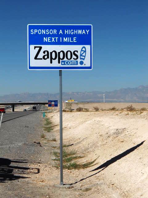 Zappos.com sponsor A highway sign