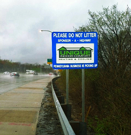Unique Indoor Comfort Sponsor A Highway sign