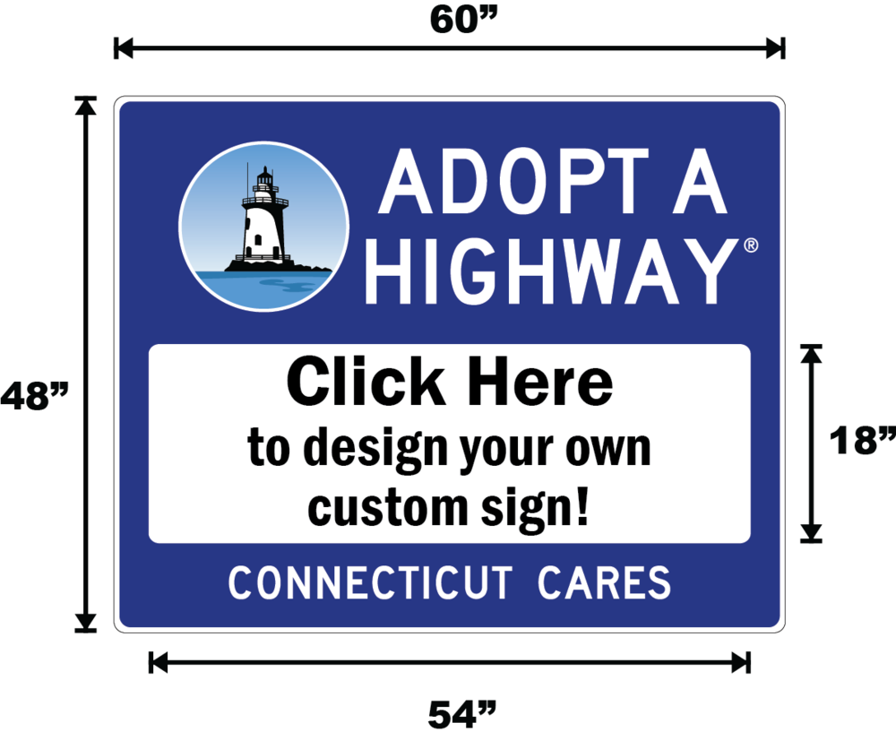 Connecticut Adopt A Highway / Sponsor A Highway Panel - Dimensions