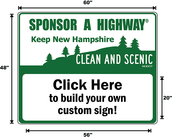 New Hampshire Adopt A Highway / Sponsor A Highway Panel - Dimensions