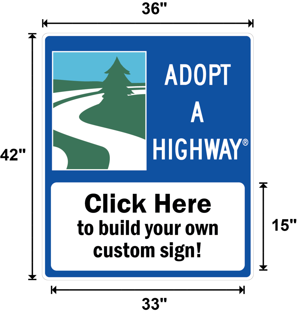Washington Adopt A Highway / Sponsor A Highway Panel - Dimensions