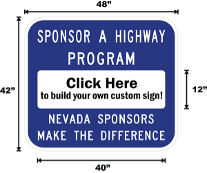 Nevada Adopt A Highway / Sponsor A Highway Panel - Dimensions