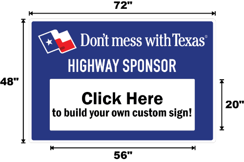 Texas Sponsor A Highway Panel - Dimensions