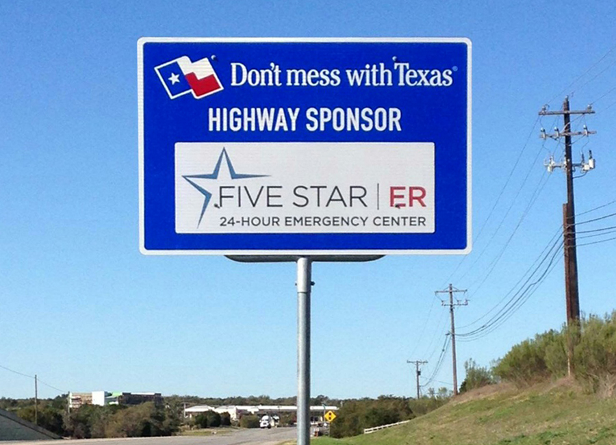 """We are a locally owned and operated emergency center in the Austin area and Texas Sponsor A Highway® was able to provide branding and exposure opportunities that put us directly in front of our customers. With sign locations available near our emergency centers, we have been able to successfully drive traffic to our business as customers mention seeing our signs many times throughout the month. Our Account Manager Romeo has provided excellent customer service, and I would recommend Texas Sponsor A Highway® to businesses looking for brand awareness and exposure at a fraction of the cost of traditional outdoor advertising.""    - Marysol Imler, Vice President of Operations for  Five Star ER"