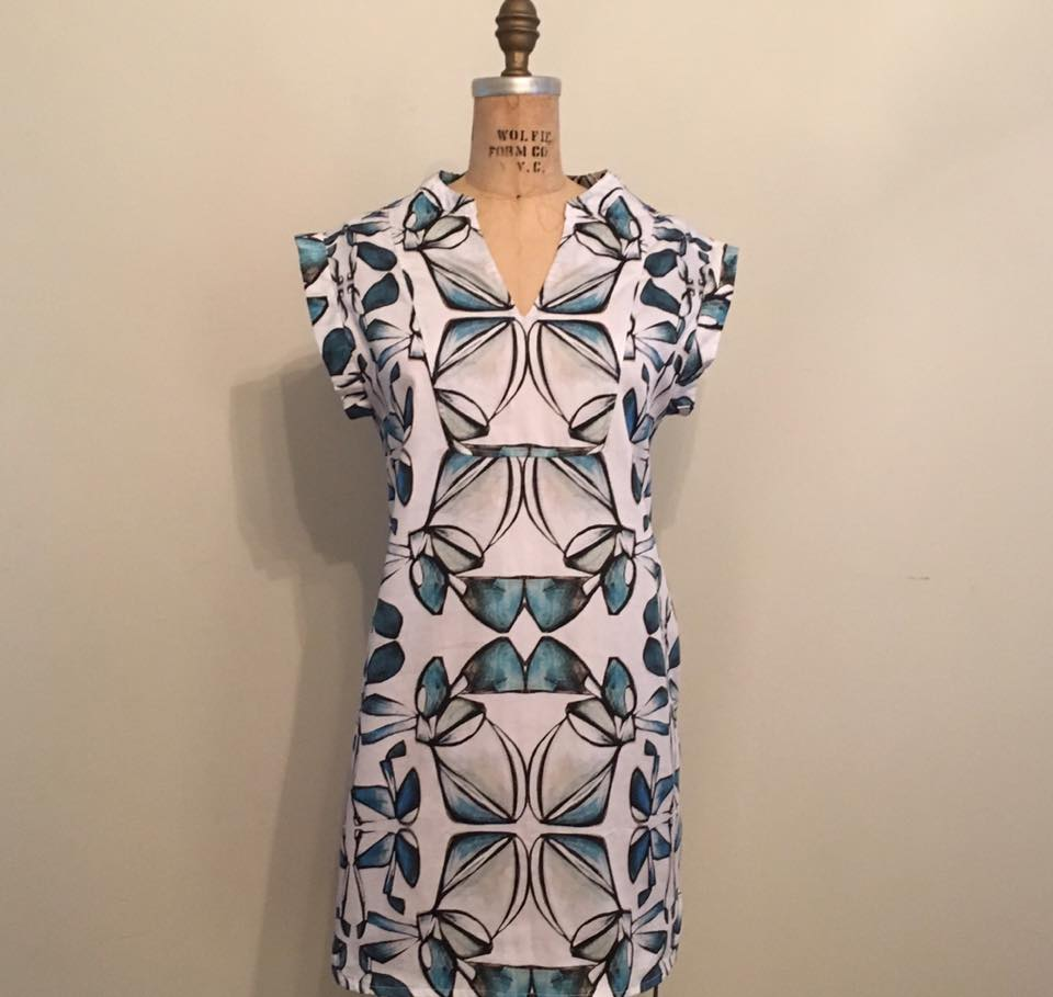 Ginger shift dress with exposed detail and notch neck$235