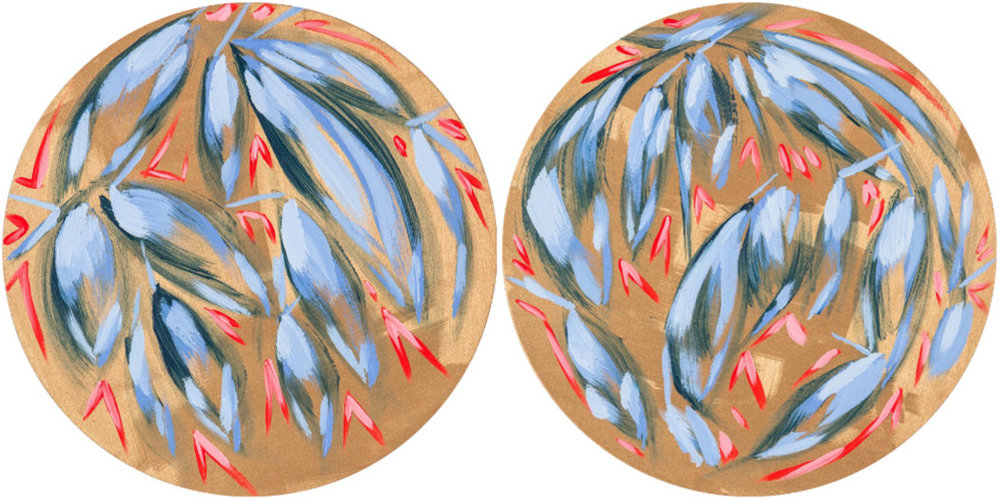 "2015 Mixed Media on Birch Panel (2) 16"" circles sold as pair $1,600  Available through Studio Amanda Talley"