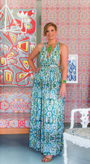 Amanda is wearing a custom sundress in Moroccan Garden (price upon request), styled with her own jewelry and flat sandals.