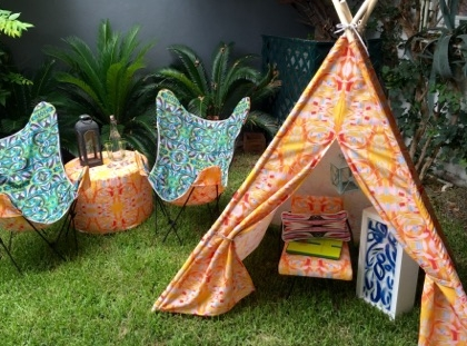 Every festival deserves a tent...or a tipi in this case.  Small tipi available in any pattern, $450. Custom lounge furniture and lightbox, price upon request.