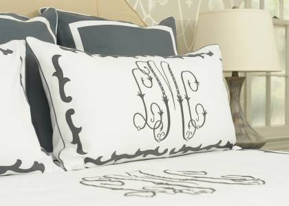 Addison + Grace monogram and bedding by Leontine Linens